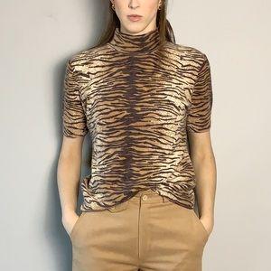 Angora wool mock neck animal print top